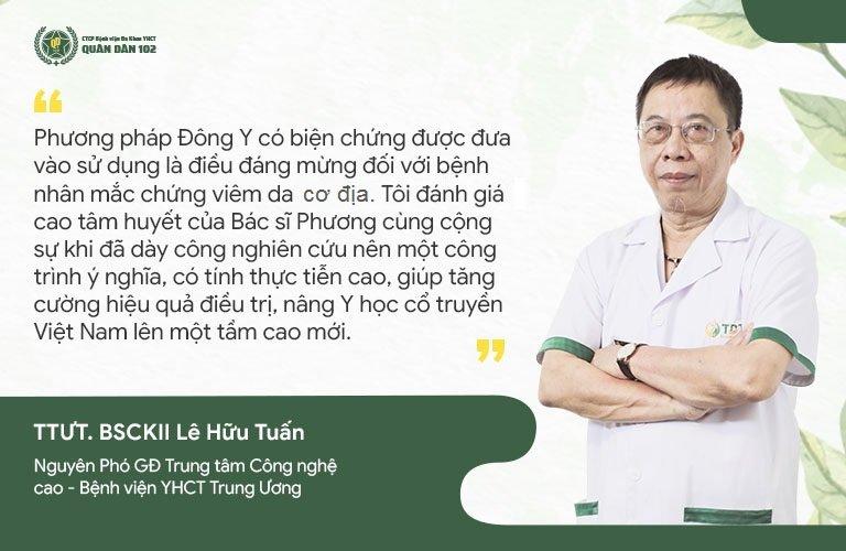 Thầy thuốc Lê Hữu Tuấn đánh giá cao phương pháp chữa viêm da cơ địa Quân dân 102