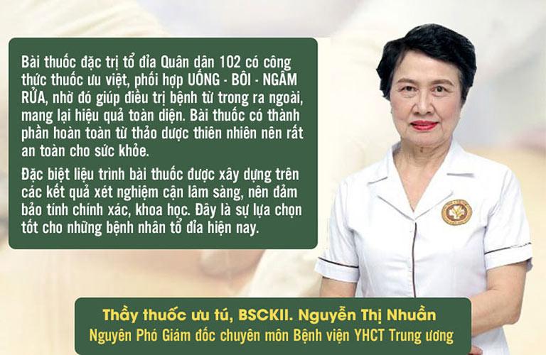 Bác sĩ Nguyễn Thị Nhuần - Nguyên PGĐ chuyên môn Bệnh viện YHCT Trung ương đánh giá cao liệu trình tổ đỉa Quân dân 102