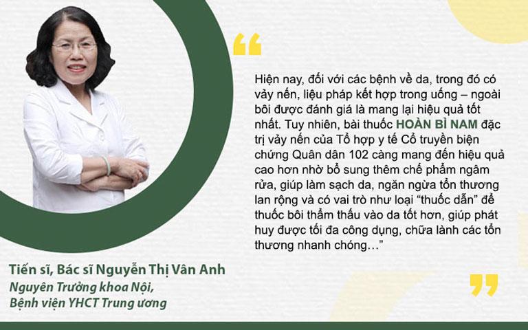 Bác sĩ Nguyễn Thị Vân Anh đánh giá bài thuốc Hoàn bì nam đặc trị vảy nến