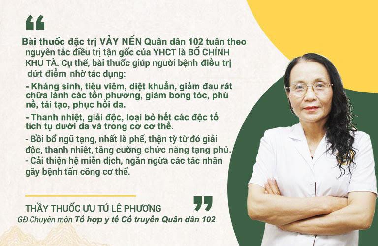 Bác sĩ Lê Phương chia sẻ về cơ chế điều trị bài thuốc chữa vảy nến Quân dân 102