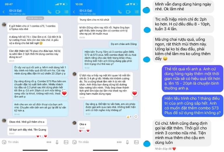 Chia sẻ của nam giới sau khi sử dụng gửi về cho fanpage/ zalo