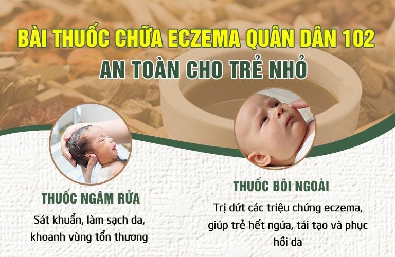 Bài thuốc Quân dân 102 giúp đặc trị eczema cho trẻ sơ sinh hiệu quả