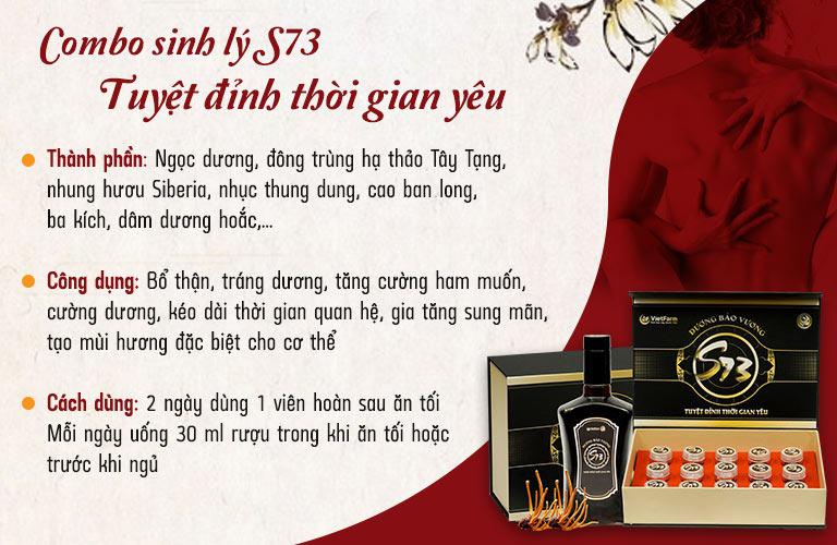 Combo sinh lý S73 Dương Bảo Vương nhanh chóng giúp nam giới lấy lại bản lĩnh