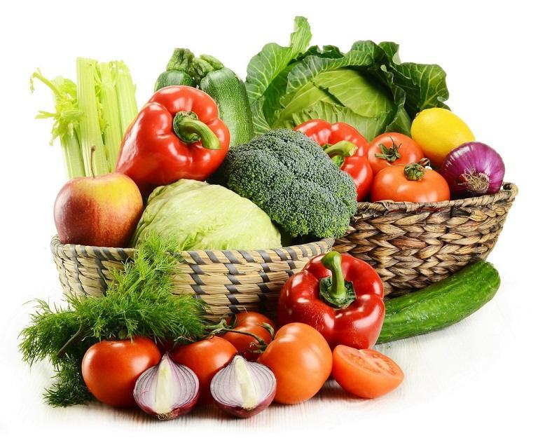 Rau xanh và trái cây giúp trung hòa axit dạ dày hiệu quả