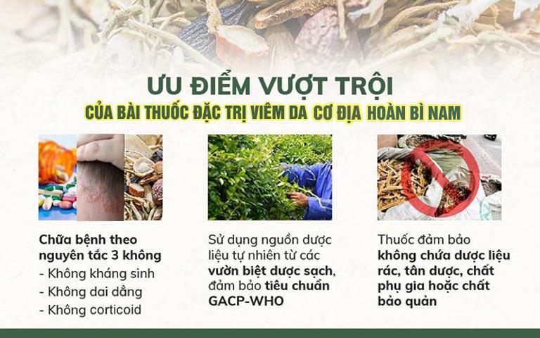 Hoàn Bì Nam sử dụng dược liệu sạch đảm bảo an toàn và hiệu quả tối đa cho bài thuốc