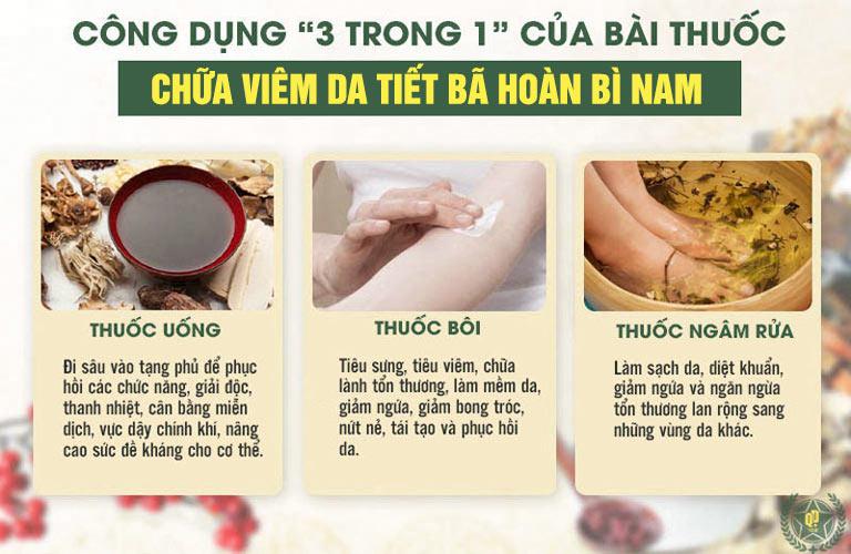 Hoàn Bì Nam cho hiệu quả toàn diện hơn với sự kết hợp trong uống - ngoài bôi, ngâm rửa