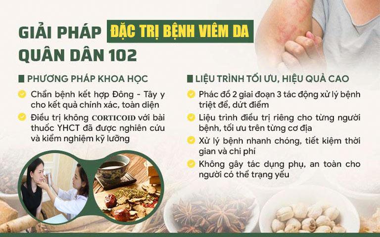 Giải pháp chữa viêm da Quân Dân 102 cho hiệu quả vượt trội so với các phương pháp thông thường