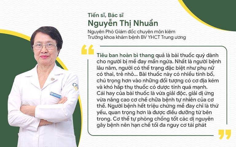 Bác sĩ Nhuần đánh giá cao độ lành tính của Tiêu ban hoàn bì thang