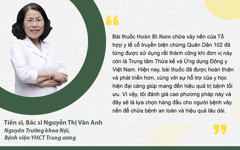 Bác sĩ Nguyễn Thị Vân Anh đánh giá về liệu pháp chữa vảy nến Quân Dân 102