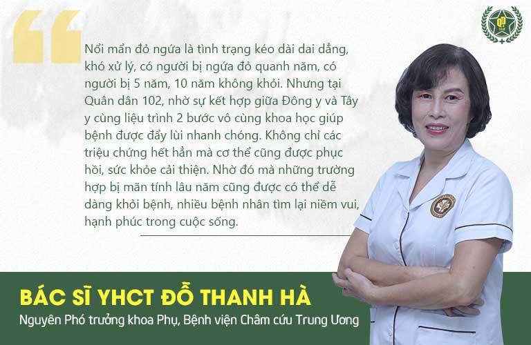 Bác sĩ Đỗ Thanh Hà chia sẻ về phương pháp hỗ trợ chữa nổi mẩn đỏ ngứa da Quân dân 102