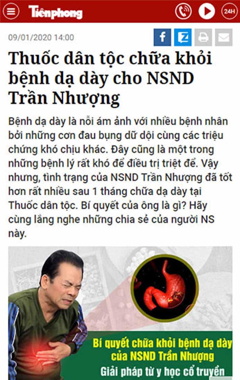 Sơ can Bình vị tán trên báo Tiền Phong