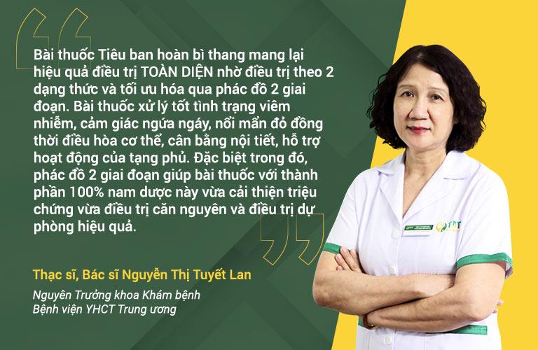 Bác sĩ Tuyết Lan nhận xét Tiêu ban hoàn bì thang