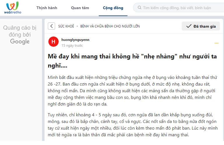 Bài đăng của mẹ bầu Hương Ly thu hút được nhiều người đọc