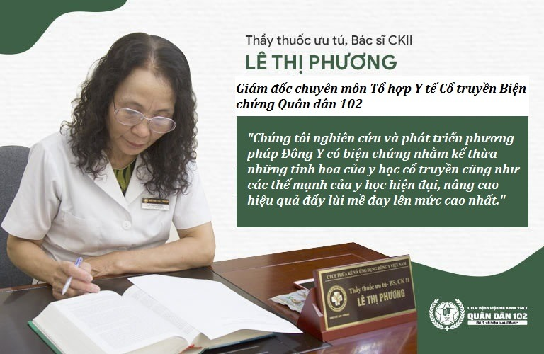 Bác sĩ Lê Phương là người đứng đầu công trình nghiên cứu, ứng dụng Đông Y có biện chứng tại Quân dân 102