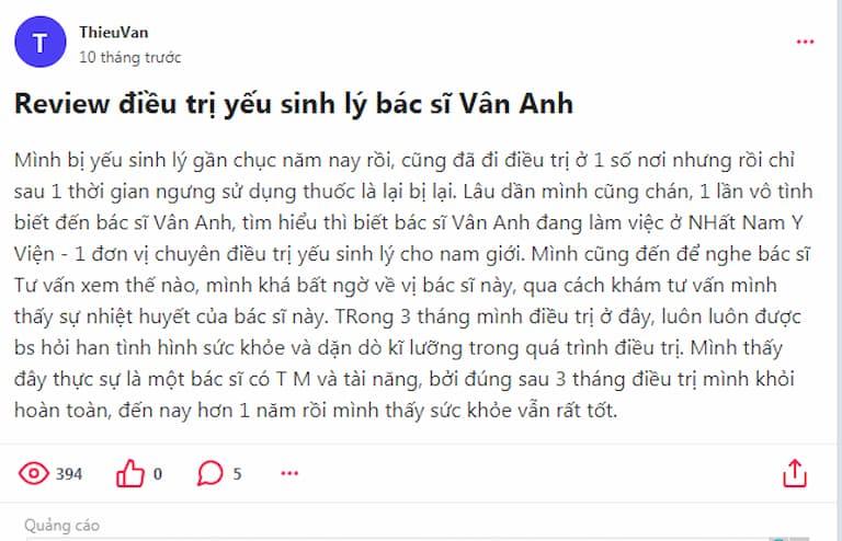 Khách hàng đánh giá về bài bác sĩ Nguyễn Thị Vân Anh