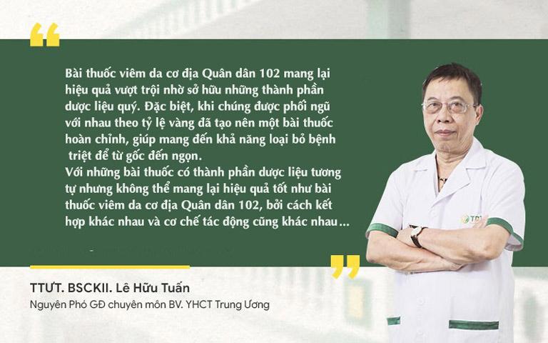 Thầy thuốc ưu tú, BSCKII Lê Hữu Tuấn đánh giá về phương pháp viêm da cơ địa Quân dân 102