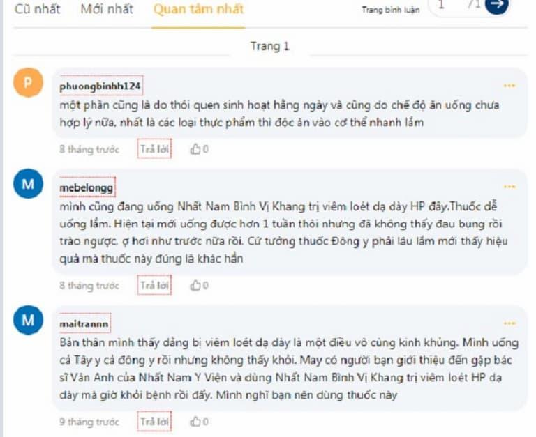 Bình luận của người dùng Nhất Nam Bình Vị Khang