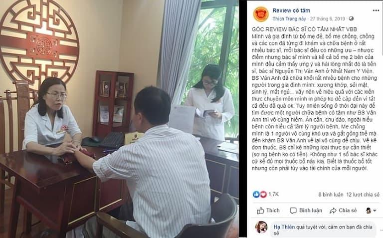 Bệnh nhân dành nhiều lời khen ngợi khi được bác sĩ Vân Anh thăm khám và điều trị bệnh