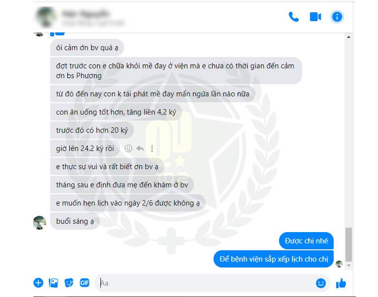 Phản hồi của mẹ bé Minh Hoàng về hiệu quả bài thuốc