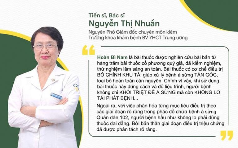 Bác sĩ Nguyễn Thị Nhuần đánh giá về bài thuốc Hoàn Bì Nam chữa á sừng