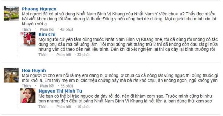 Review của nhiều người về Nhất Nam Bình Vị Khang và Nhất Nam Y Viện trong bình luận các bài đăng trên Fb