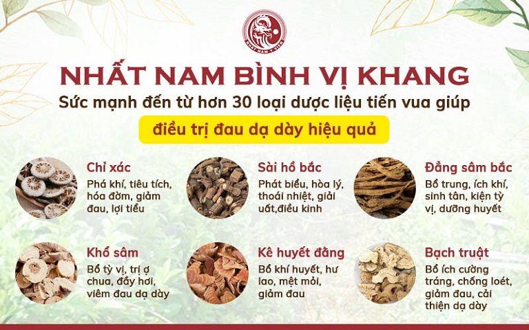 Thành phần dược liệu chủ đạo trong Nhất Nam Bình Vị Khang