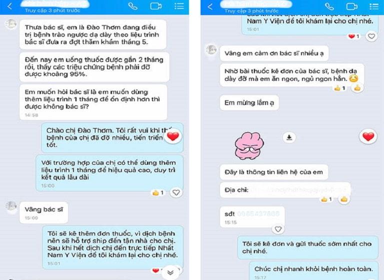 Tin nhắn của bệnh nhân Đào Thơm gửi cảm ơn Bác sĩ Nguyễn Thị Vân Anh